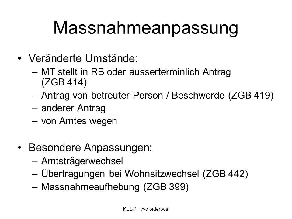Massnahmeanpassung Veränderte Umstände: –MT stellt in RB oder ausserterminlich Antrag (ZGB 414) –Antrag von betreuter Person / Beschwerde (ZGB 419) –a