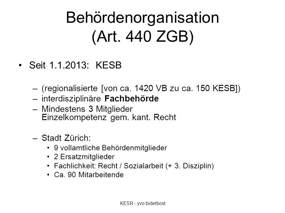 Behördenorganisation (Art. 440 ZGB) Seit 1.1.2013: KESB –(regionalisierte [von ca. 1420 VB zu ca. 150 KESB]) –interdisziplinäre Fachbehörde –Mindesten