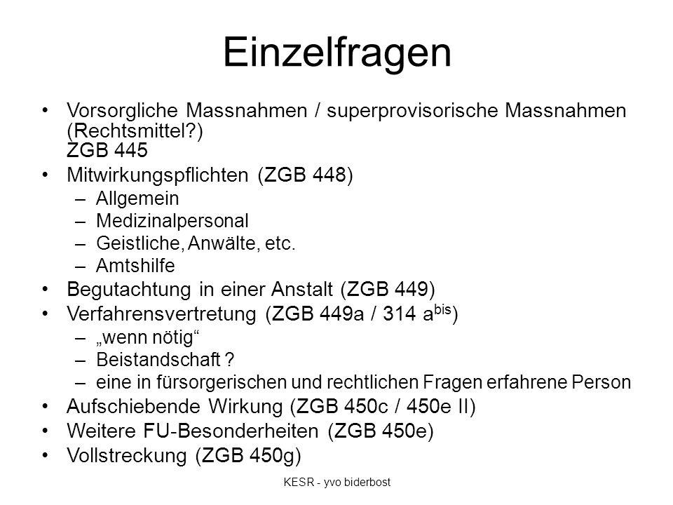 Einzelfragen Vorsorgliche Massnahmen / superprovisorische Massnahmen (Rechtsmittel ) ZGB 445 Mitwirkungspflichten (ZGB 448) –Allgemein –Medizinalpersonal –Geistliche, Anwälte, etc.
