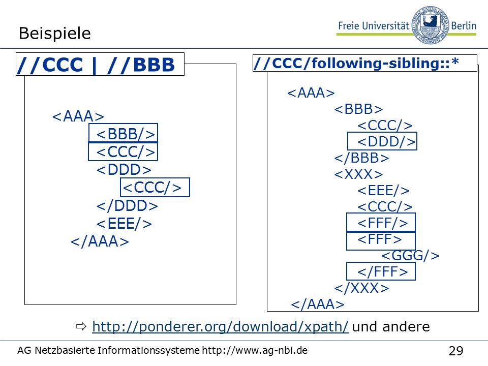 29 AG Netzbasierte Informationssysteme http://www.ag-nbi.de Beispiele //CCC/following-sibling::* //CCC | //BBB  http://ponderer.org/download/xpath/ und anderehttp://ponderer.org/download/xpath/