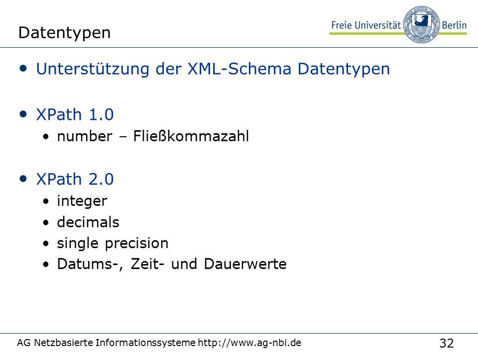 32 AG Netzbasierte Informationssysteme http://www.ag-nbi.de Datentypen Unterstützung der XML-Schema Datentypen XPath 1.0 number – Fließkommazahl XPath 2.0 integer decimals single precision Datums-, Zeit- und Dauerwerte