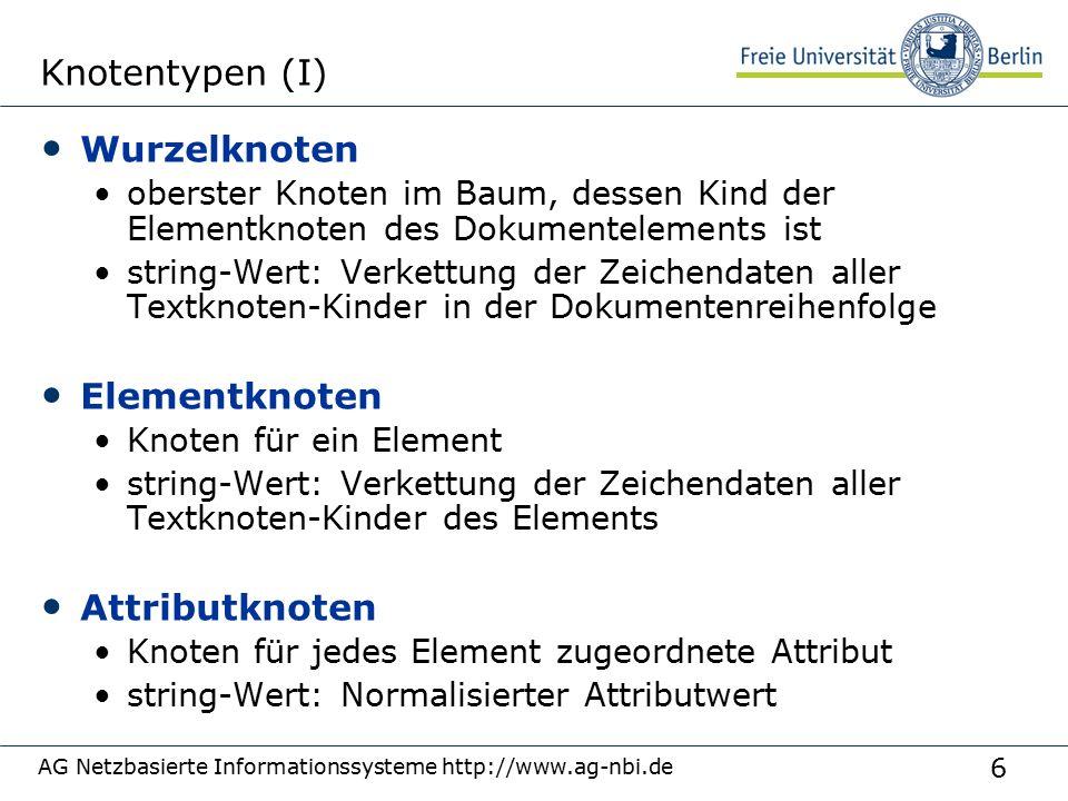 47 Verarbeitungsreihenfolge Bearbeitung und Ausgabe entsprechend dem Tupelstrom Änderbar durch ordering mode unordered { for $p in fn:doc( parts.xml )/parts/part[color = Red ], $s in fn:doc( suppliers.xml )/suppliers/supplier where $p/suppno = $s/suppno return { $p/partno, $s/suppno } } ordered: Entsprechend Standard, Dokumentenordnung unordered: Implementierungsabhängig, nichtdeterministisch AG Netzbasierte Informationssysteme http://www.ag-nbi.de
