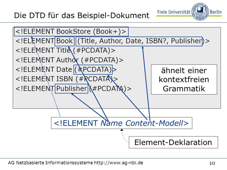 10 Die DTD für das Beispiel-Dokument AG Netzbasierte Informationssysteme http://www.ag-nbi.de ähnelt einer kontextfreien Grammatik Element-Deklaration