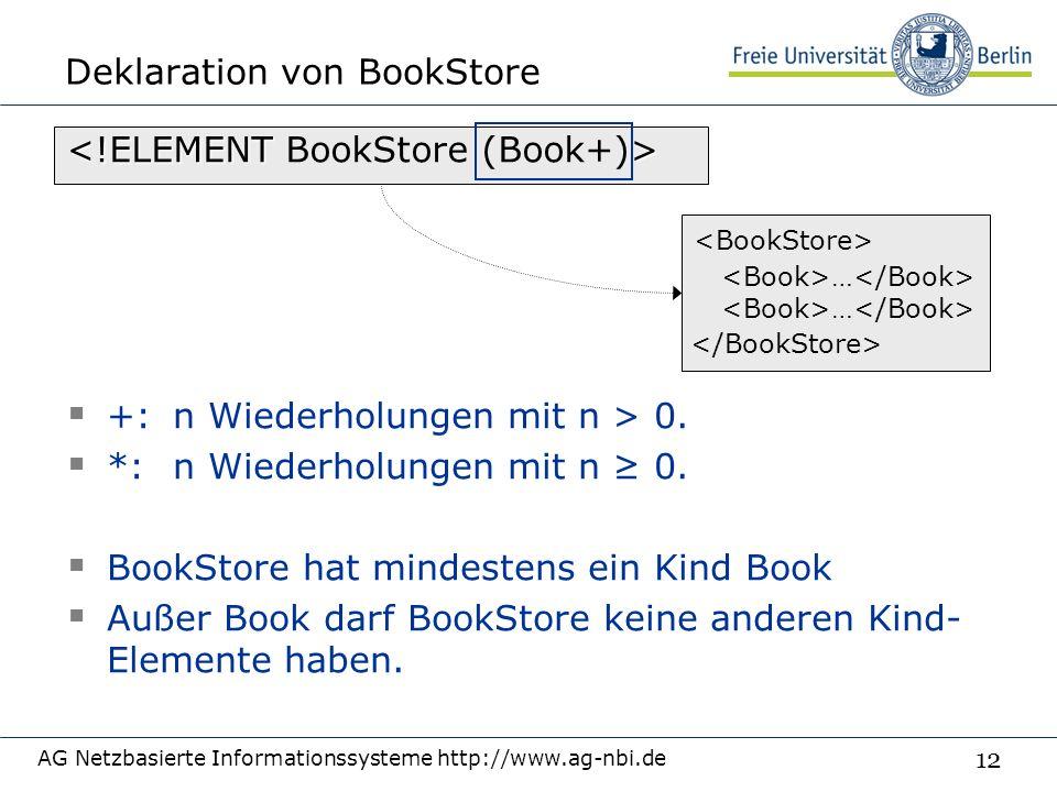 12 Deklaration von BookStore AG Netzbasierte Informationssysteme http://www.ag-nbi.de  +: n Wiederholungen mit n > 0.