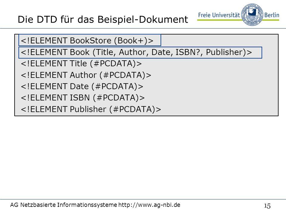 15 Die DTD für das Beispiel-Dokument AG Netzbasierte Informationssysteme http://www.ag-nbi.de