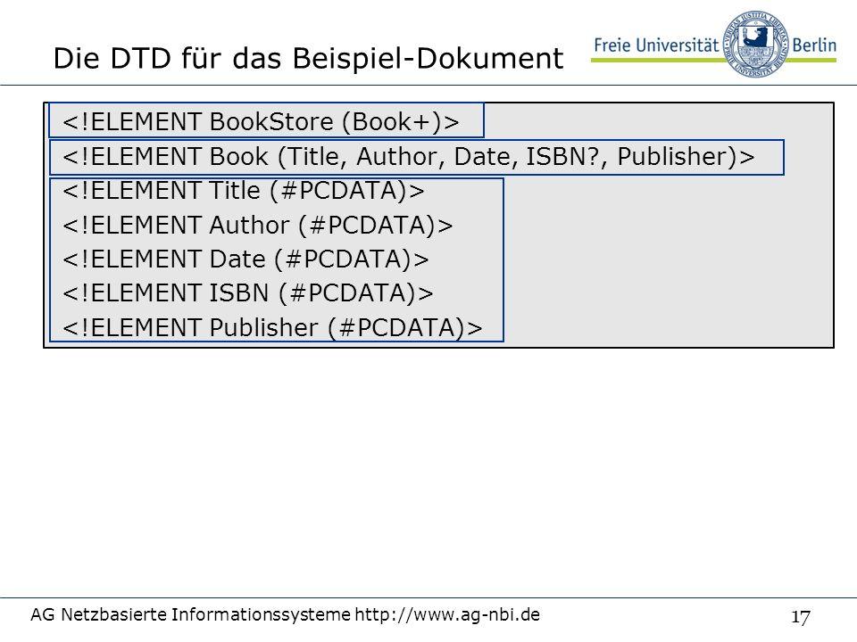 17 Die DTD für das Beispiel-Dokument AG Netzbasierte Informationssysteme http://www.ag-nbi.de