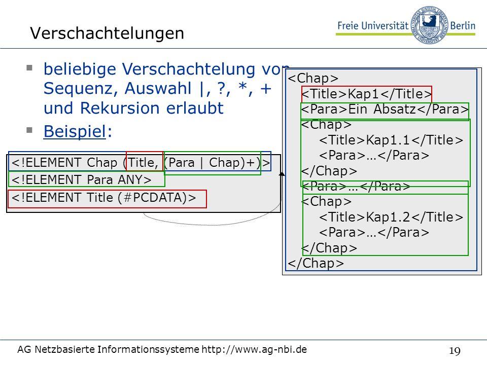 19 Verschachtelungen AG Netzbasierte Informationssysteme http://www.ag-nbi.de ChapChap  beliebige Verschachtelung von Sequenz, Auswahl |, , *, + und Rekursion erlaubt  Beispiel: Kap1 Ein Absatz Kap1.1 … … Kap1.2 …