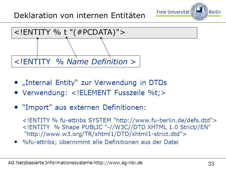 """33 Deklaration von internen Entitäten """"Internal Entity zur Verwendung in DTDs Verwendung: Import aus externen Definitionen: %fu-attribs; übernimmt alle Definitionen aus der Datei AG Netzbasierte Informationssysteme http://www.ag-nbi.de"""