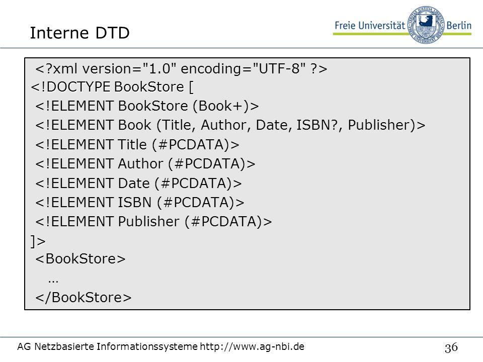 36 Interne DTD AG Netzbasierte Informationssysteme http://www.ag-nbi.de <!DOCTYPE BookStore [ ]> …
