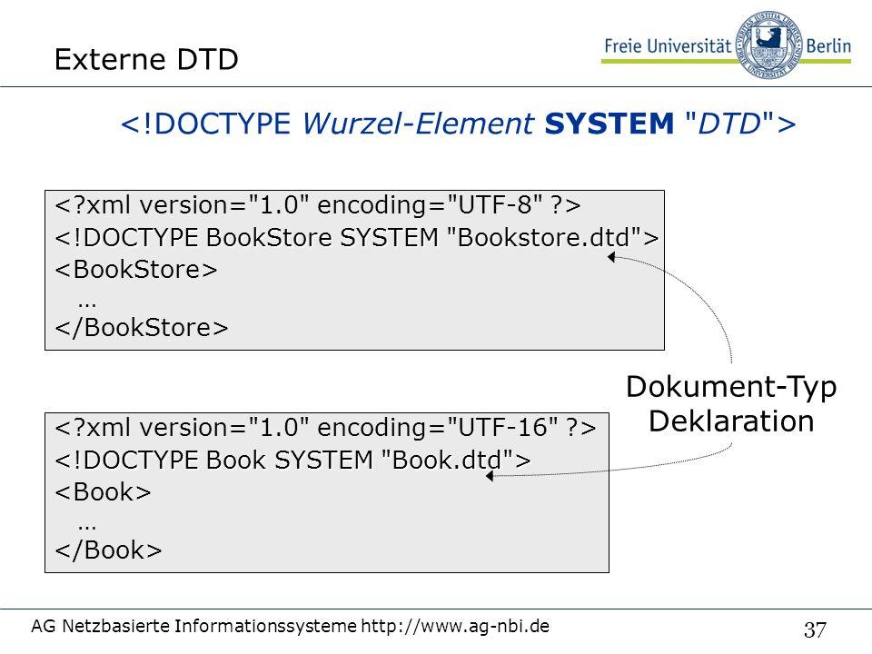 37 Externe DTD AG Netzbasierte Informationssysteme http://www.ag-nbi.de … … Dokument-Typ Deklaration