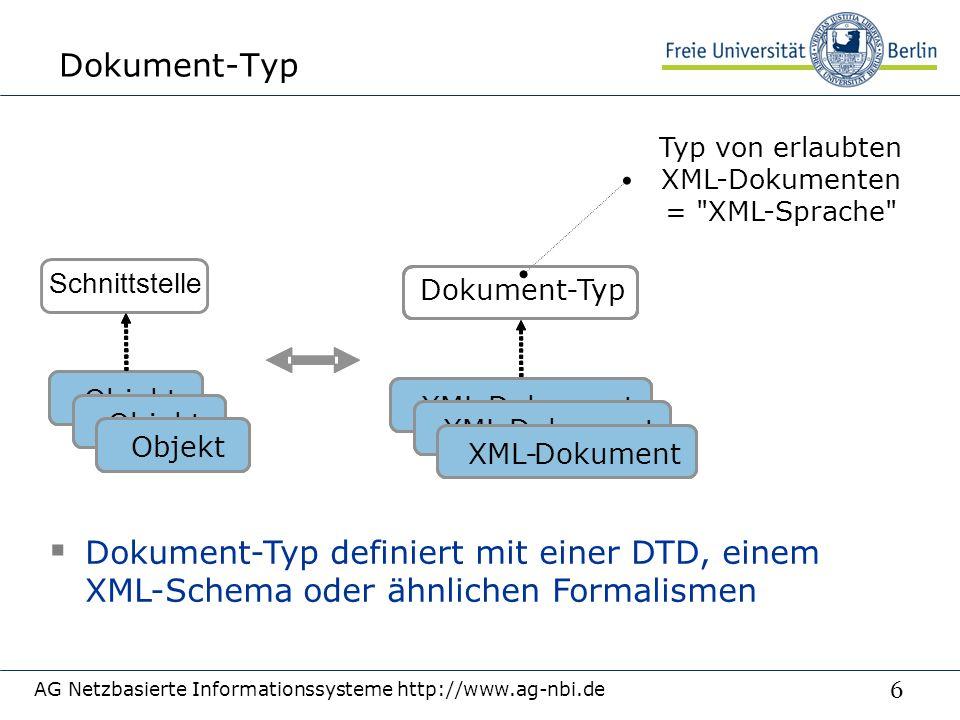 6 Dokument-Typ AG Netzbasierte Informationssysteme http://www.ag-nbi.de Typ von erlaubten XML-Dokumenten = XML-Sprache  Dokument-Typ definiert mit einer DTD, einem XML-Schema oder ähnlichen Formalismen Objekt Dokument-Typ XML-Dokument XML-Dokument XML-Dokument Objekt XML-DokumentXML-Dokument XML-DokumentXML-Dokument XML-DokumentXML-Dokument Schnittstelle
