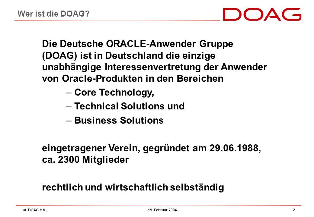  DOAG e.V., 19.Februar 20043 Agenda 17:00 Begrüßung / Neues aus der DOAG (R.