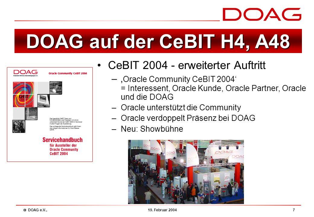  DOAG e.V., 19.Februar 20048 Jahreskonferenz 2004 10.