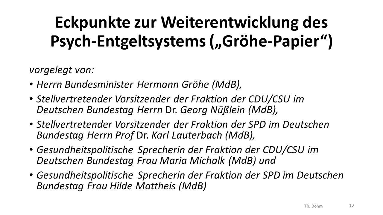 """Eckpunkte zur Weiterentwicklung des Psych-Entgeltsystems (""""Gröhe-Papier ) vorgelegt von: Herrn Bundesminister Hermann Gröhe (MdB), Stellvertretender Vorsitzender der Fraktion der CDU/CSU im Deutschen Bundestag Herrn Dr."""