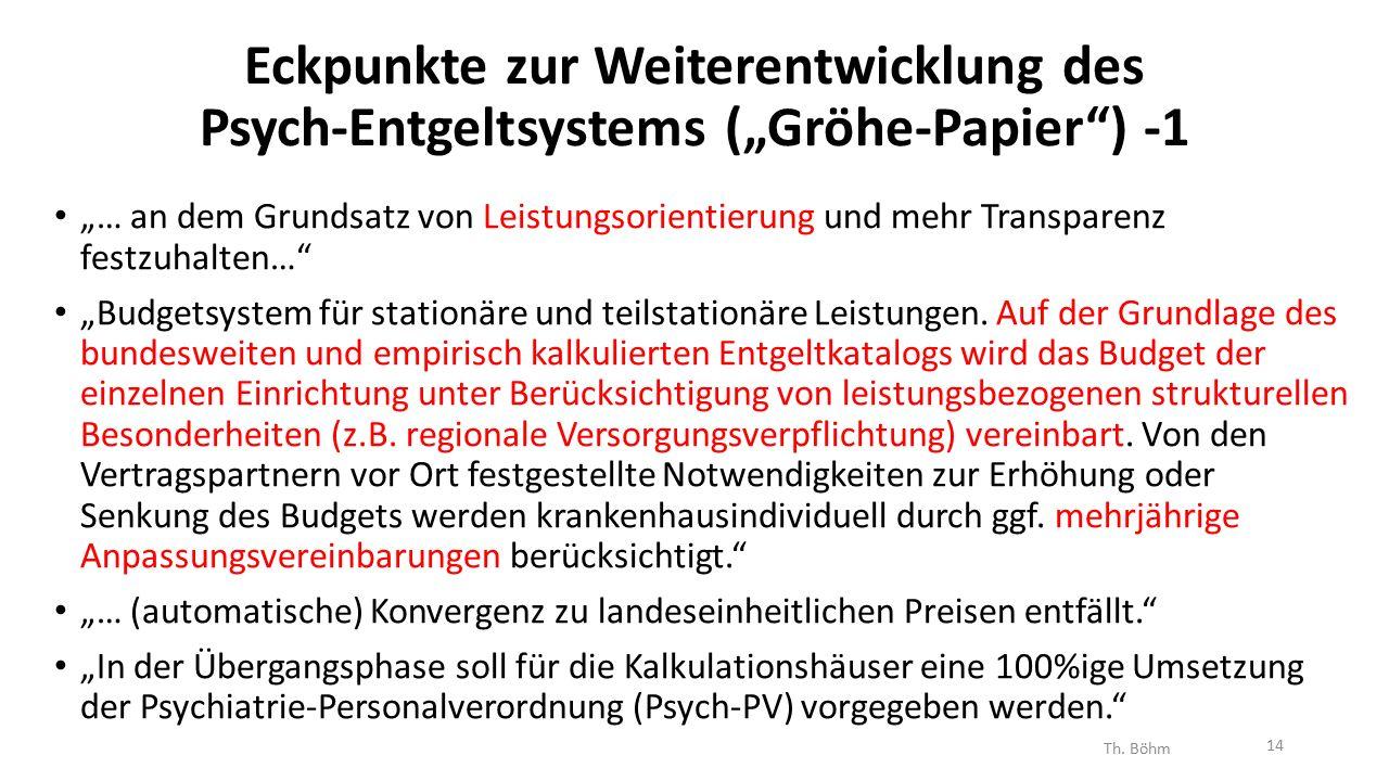 """Eckpunkte zur Weiterentwicklung des Psych-Entgeltsystems (""""Gröhe-Papier ) -1 """"… an dem Grundsatz von Leistungsorientierung und mehr Transparenz festzuhalten… """"Budgetsystem für stationäre und teilstationäre Leistungen."""