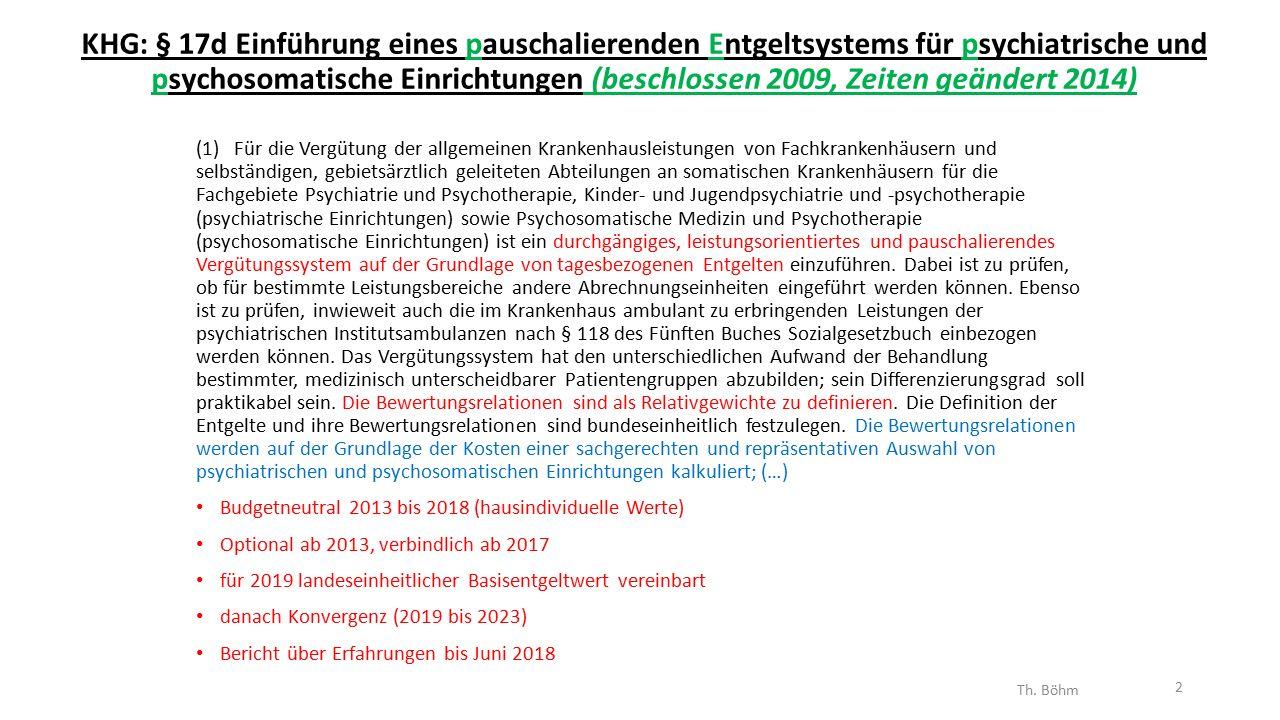 KHG: § 17d Einführung eines pauschalierenden Entgeltsystems für psychiatrische und psychosomatische Einrichtungen (beschlossen 2009, Zeiten geändert 2014) (1) Für die Vergütung der allgemeinen Krankenhausleistungen von Fachkrankenhäusern und selbständigen, gebietsärztlich geleiteten Abteilungen an somatischen Krankenhäusern für die Fachgebiete Psychiatrie und Psychotherapie, Kinder- und Jugendpsychiatrie und -psychotherapie (psychiatrische Einrichtungen) sowie Psychosomatische Medizin und Psychotherapie (psychosomatische Einrichtungen) ist ein durchgängiges, leistungsorientiertes und pauschalierendes Vergütungssystem auf der Grundlage von tagesbezogenen Entgelten einzuführen.