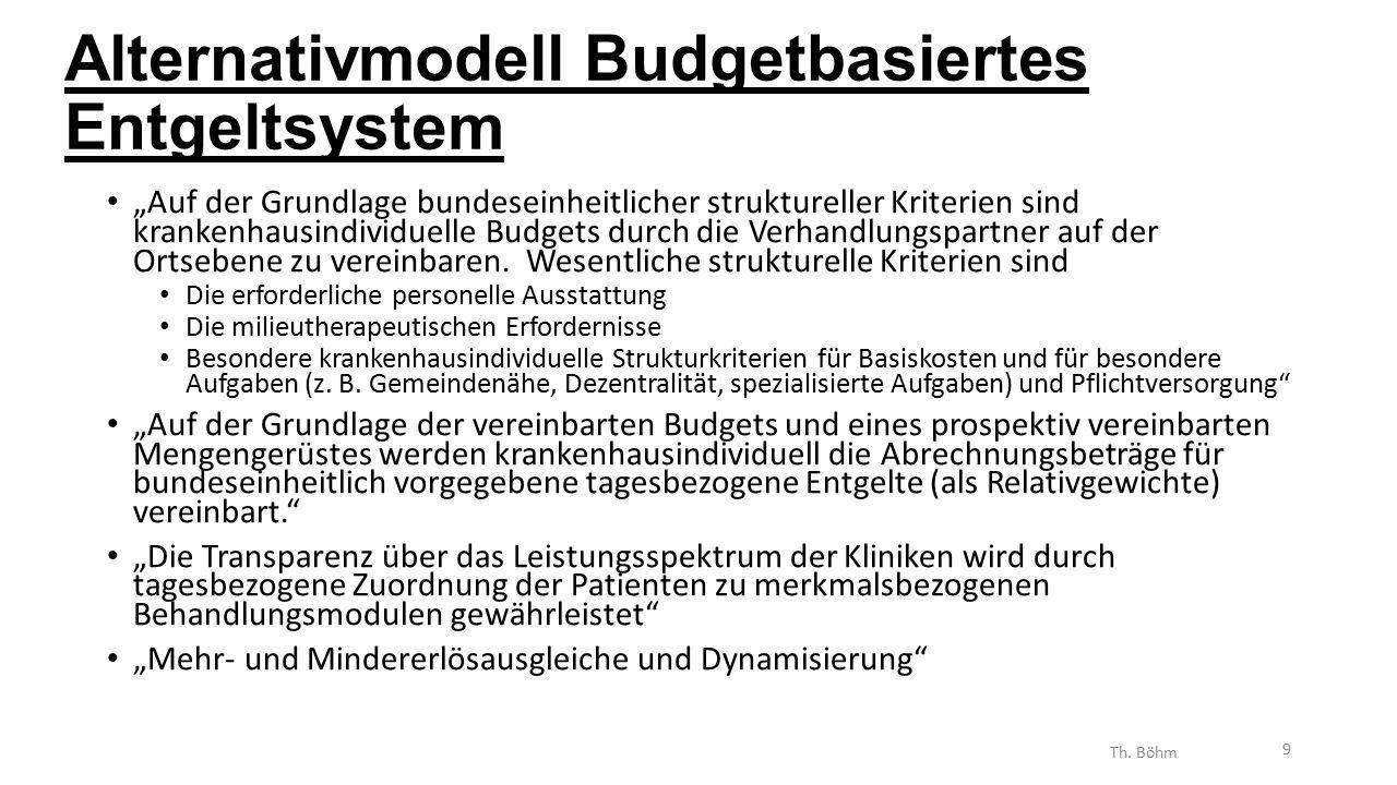 """Alternativmodell Budgetbasiertes Entgeltsystem """"Auf der Grundlage bundeseinheitlicher struktureller Kriterien sind krankenhausindividuelle Budgets durch die Verhandlungspartner auf der Ortsebene zu vereinbaren."""
