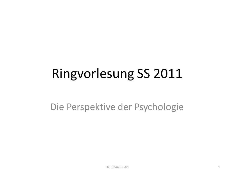 Ringvorlesung SS 2011 Die Perspektive der Psychologie 1Dr. Silvia Queri