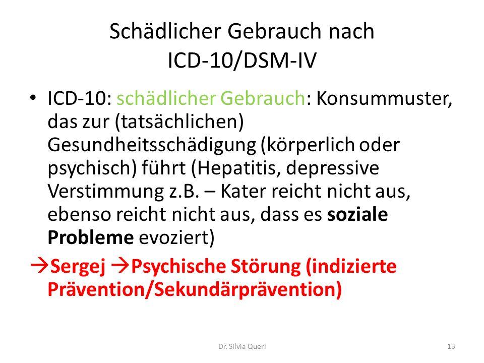 Schädlicher Gebrauch nach ICD-10/DSM-IV ICD-10: schädlicher Gebrauch: Konsummuster, das zur (tatsächlichen) Gesundheitsschädigung (körperlich oder psychisch) führt (Hepatitis, depressive Verstimmung z.B.