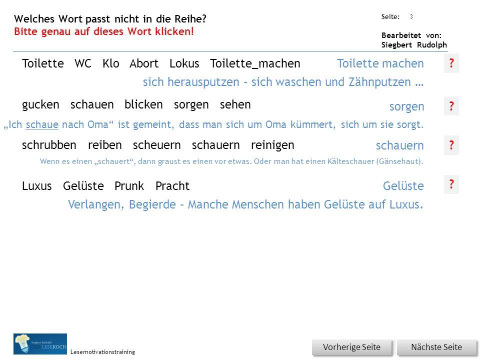 Übungsart: Seite: Bearbeitet von: Siegbert Rudolph Lesemotivationstraining 2 18 Badetag – bitte klicken.