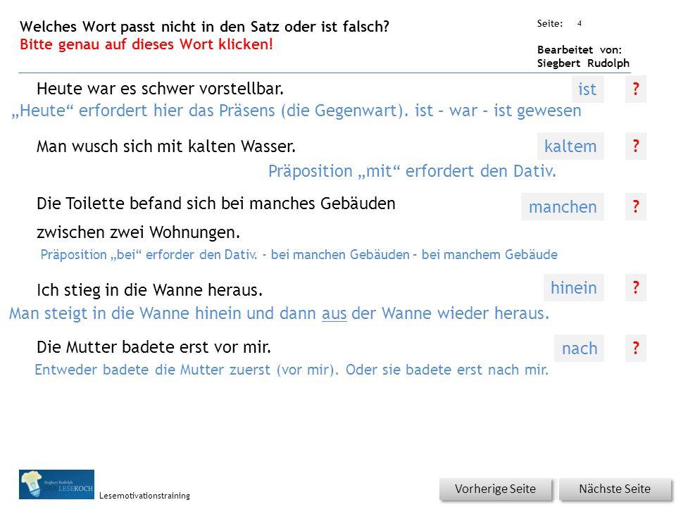 Übungsart: Seite: Bearbeitet von: Siegbert Rudolph Lesemotivationstraining 3 Welches Wort passt nicht in die Reihe.