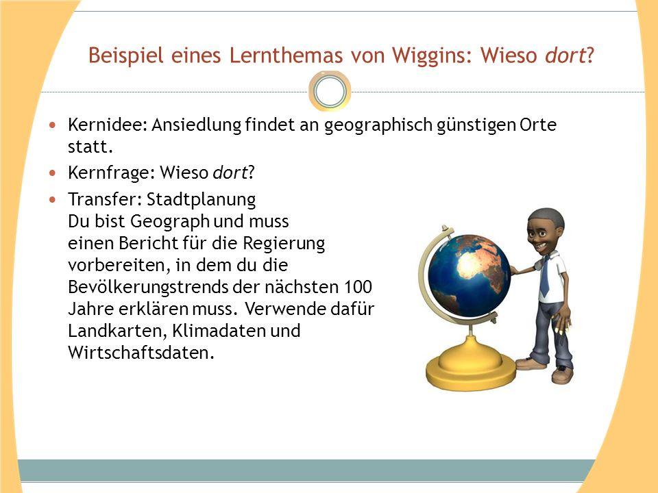Beispiel eines Lernthemas von Wiggins: Wieso dort.