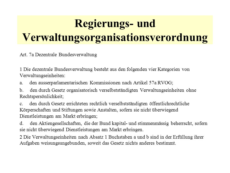 Regierungs- und Verwaltungsorganisationsverordnung Art.