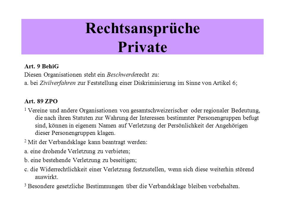 Rechtsansprüche Private Art.9 BehiG Diesen Organisationen steht ein Beschwerderecht zu: a.