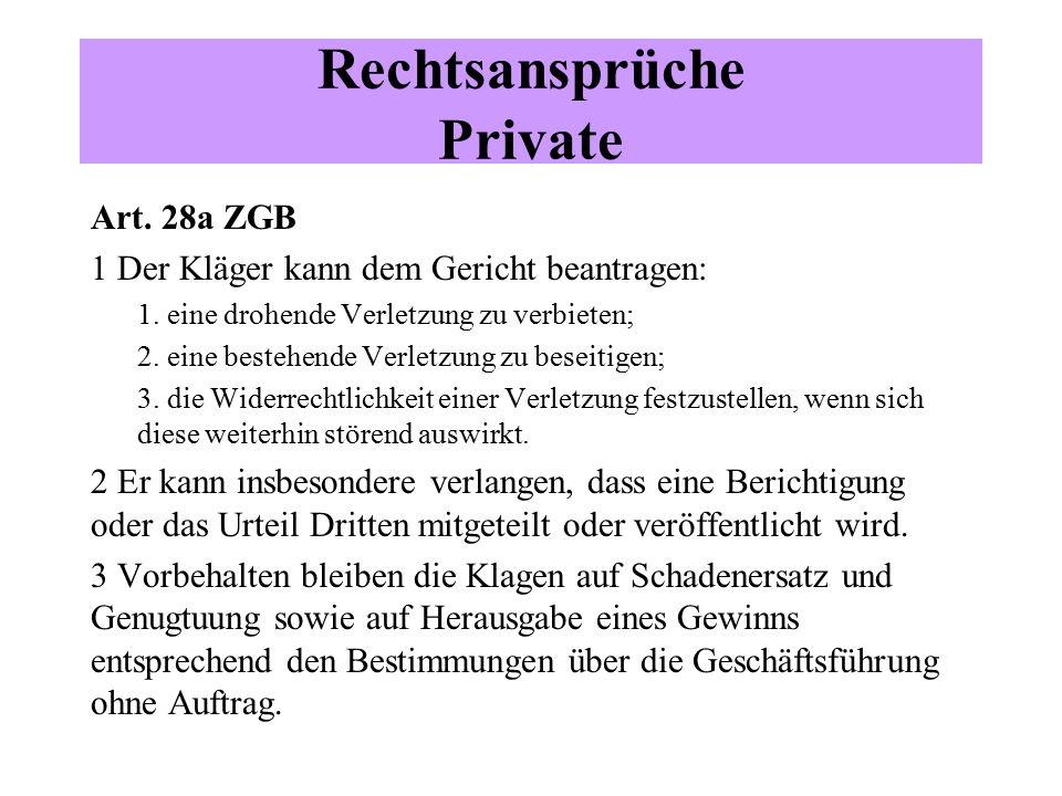 Art. 28a ZGB 1 Der Kläger kann dem Gericht beantragen: 1.