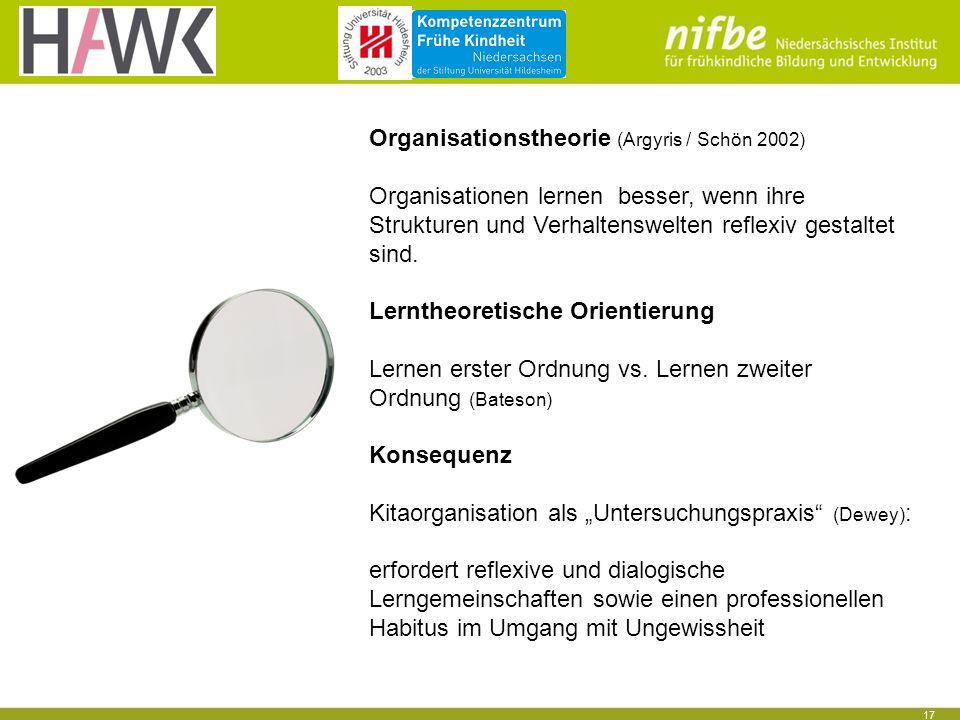 17 Organisationstheorie (Argyris / Schön 2002) Organisationen lernen besser, wenn ihre Strukturen und Verhaltenswelten reflexiv gestaltet sind.