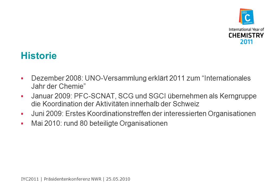 IYC2011 | Präsidentenkonferenz NWR | 25.05.2010 Historie  Dezember 2008: UNO-Versammlung erklärt 2011 zum Internationales Jahr der Chemie  Januar 2009: PFC-SCNAT, SCG und SGCI übernehmen als Kerngruppe die Koordination der Aktivitäten innerhalb der Schweiz  Juni 2009: Erstes Koordinationstreffen der interessierten Organisationen  Mai 2010: rund 80 beteiligte Organisationen
