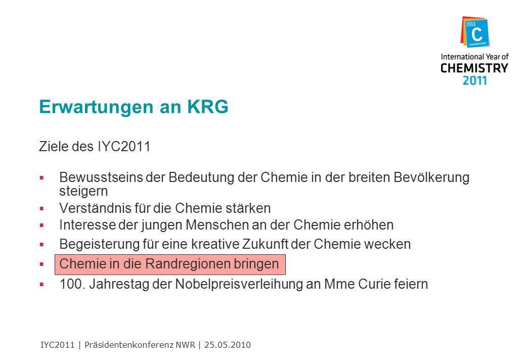IYC2011 | Präsidentenkonferenz NWR | 25.05.2010 Ziele des IYC2011  Bewusstseins der Bedeutung der Chemie in der breiten Bevölkerung steigern  Verständnis für die Chemie stärken  Interesse der jungen Menschen an der Chemie erhöhen  Begeisterung für eine kreative Zukunft der Chemie wecken  Chemie in die Randregionen bringen  100.