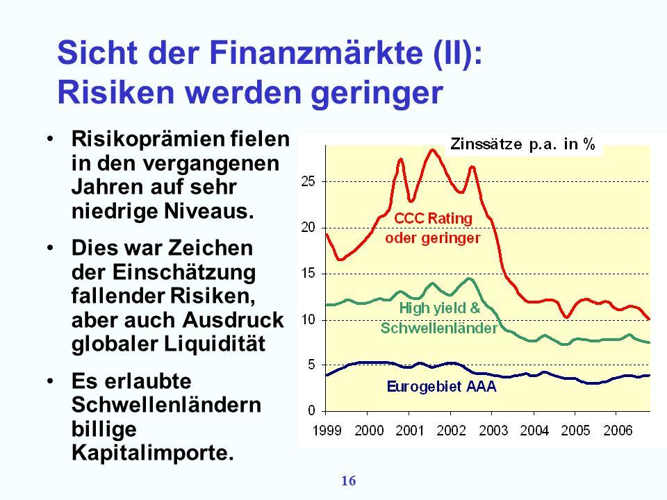 15 Sicht der Finanzmärkte (I): Potentiale steigen Aktienkurse der BRIC sind in den letzten 5 Jahren stark gestiegen.