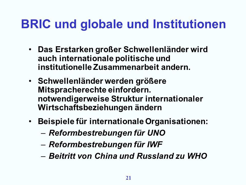 20 BRIC, globale Beziehungen und Institutionen Die Entwicklung neuer großer und starker Volkswirtschaften wird sich fortsetzen, wenn auch nicht bruch– und spannungsfrei (Krisen und Rückschläge in einzelnen Ländern sind wahrscheinlich).