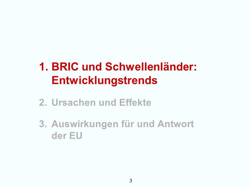 2 Überblick 1.BRIC und Schwellenländer: Entwicklungstrends 2.Ursachen und Effekte 3.Auswirkungen für und Antwort der EU