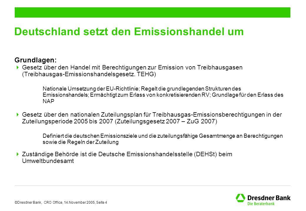 ©Dresdner Bank, CRO Office, 14.November 2005, Seite 4 Deutschland setzt den Emissionshandel um Grundlagen:  Gesetz über den Handel mit Berechtigungen zur Emission von Treibhausgasen (Treibhausgas-Emissionshandelsgesetz.