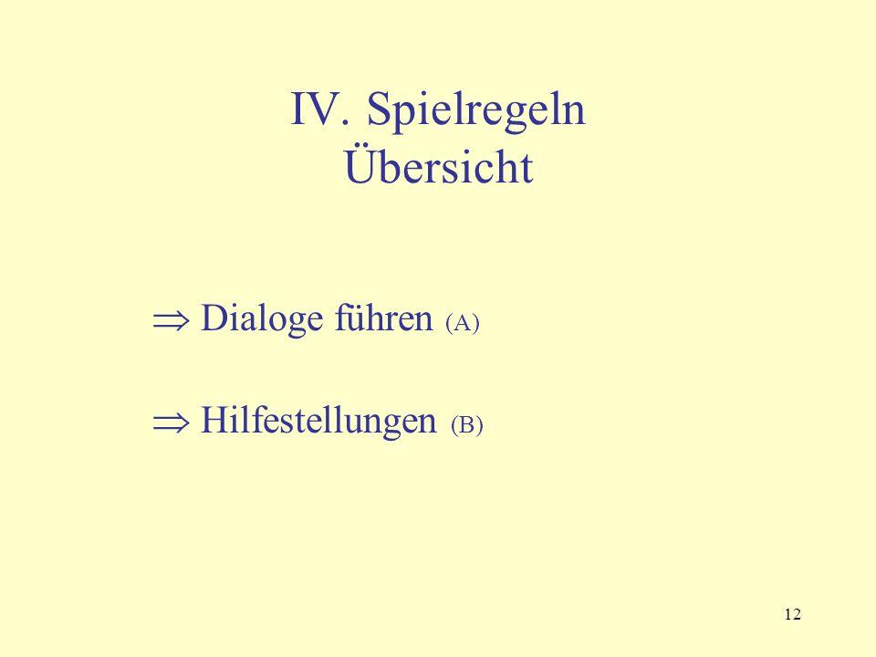 12 IV. Spielregeln Übersicht  Dialoge führen (A)  Hilfestellungen (B)