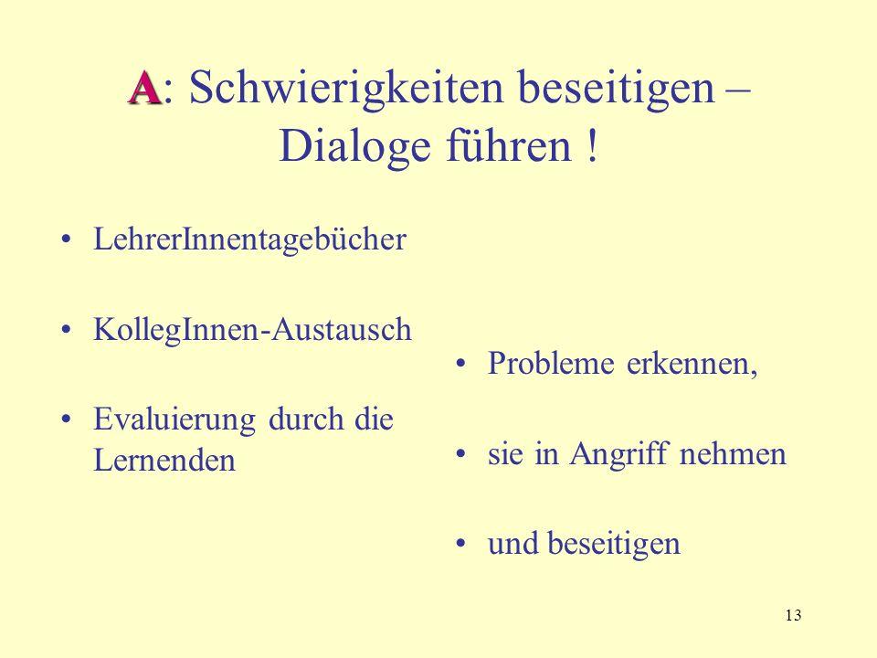 13 A A: Schwierigkeiten beseitigen – Dialoge führen ! LehrerInnentagebücher KollegInnen-Austausch Evaluierung durch die Lernenden Probleme erkennen, s