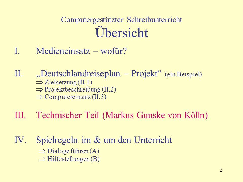 """2 Computergestützter Schreibunterricht Übersicht I.Medieneinsatz – wofür? II.""""Deutschlandreiseplan – Projekt"""" (ein Beispiel)  Zielsetzung (II.1)  Pr"""
