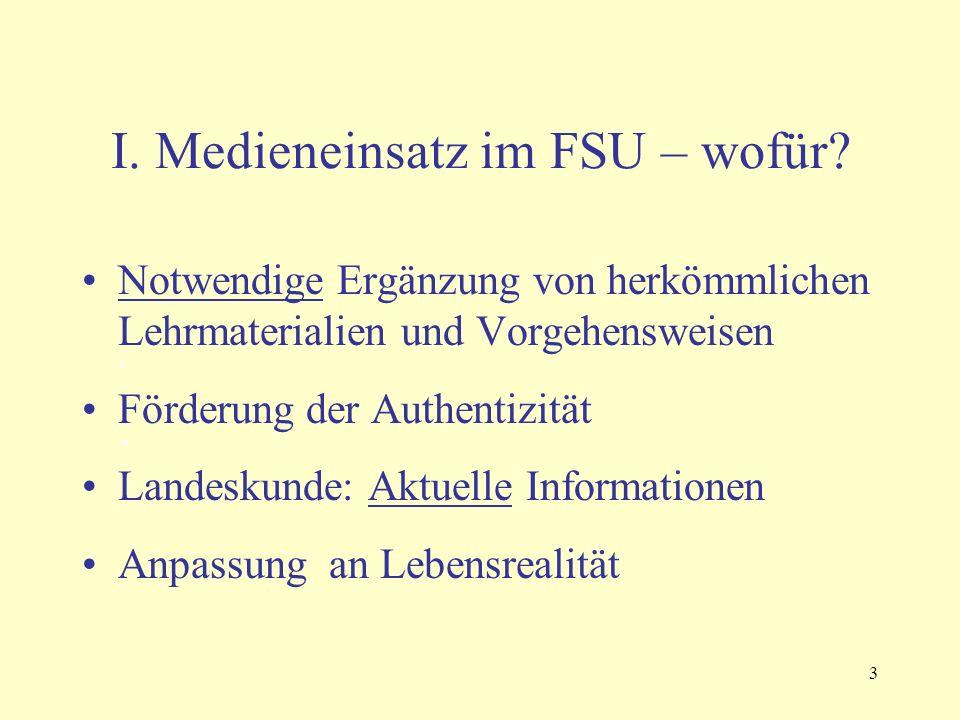 3 I. Medieneinsatz im FSU – wofür? Notwendige Ergänzung von herkömmlichen Lehrmaterialien und Vorgehensweisen a Förderung der Authentizität a Landesku