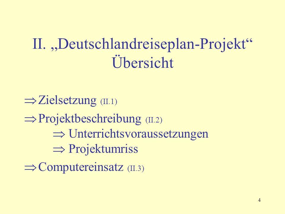 """4 II. """"Deutschlandreiseplan-Projekt"""" Übersicht  Zielsetzung (II.1)  Projektbeschreibung (II.2)  Unterrichtsvoraussetzungen  Projektumriss  Comput"""