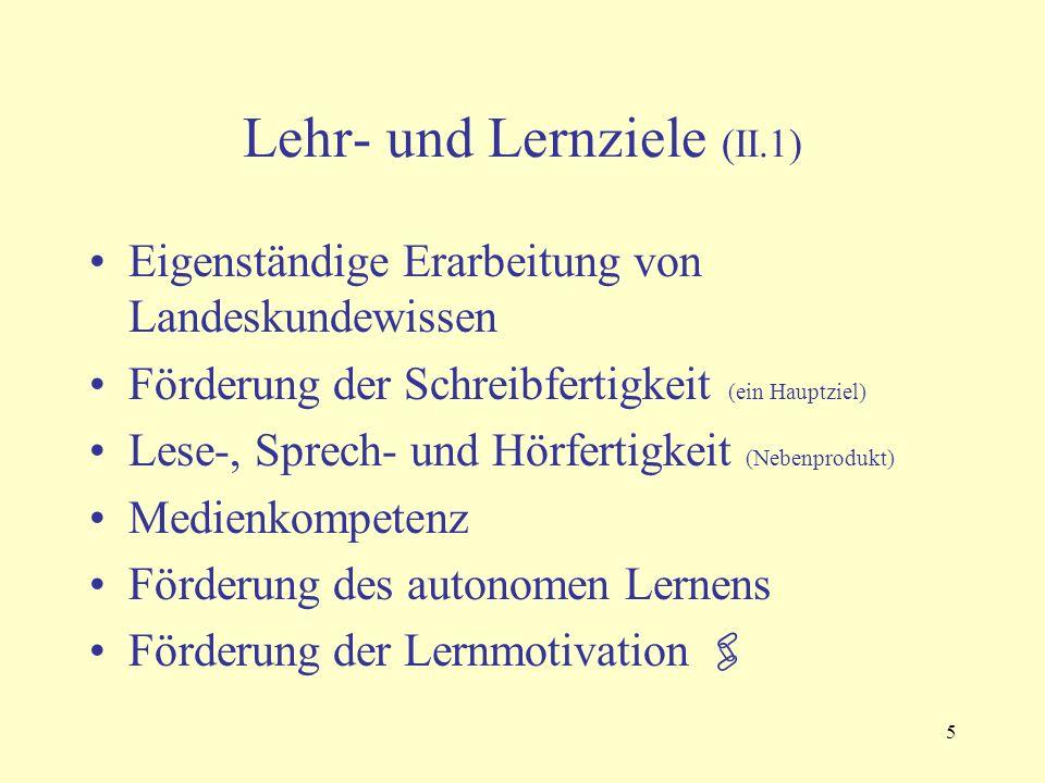 5 Lehr- und Lernziele (II.1) Eigenständige Erarbeitung von Landeskundewissen Förderung der Schreibfertigkeit (ein Hauptziel) Lese-, Sprech- und Hörfer