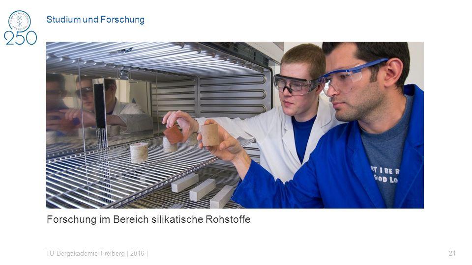 Forschung im Bereich silikatische Rohstoffe TU Bergakademie Freiberg | 2016 | 21 Studium und Forschung
