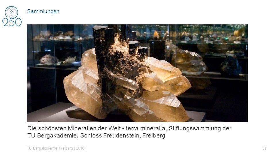 Die schönsten Mineralien der Welt - terra mineralia, Stiftungssammlung der TU Bergakademie, Schloss Freudenstein, Freiberg TU Bergakademie Freiberg | 2016 | 35 Sammlungen