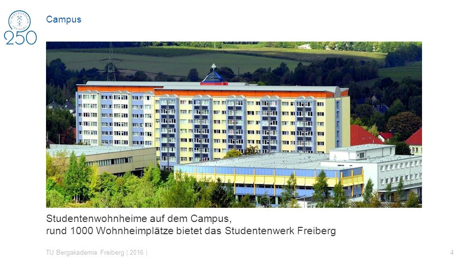 Studentenwohnheime auf dem Campus, rund 1000 Wohnheimplätze bietet das Studentenwerk Freiberg TU Bergakademie Freiberg | 2016 | 4 Campus
