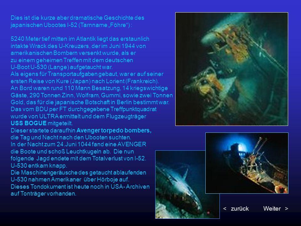 """Dies ist die kurze aber dramatische Geschichte des japanischen Ubootes I-52 (Tarnname """"Föhre"""") : 5240 Meter tief mitten im Atlantik liegt das erstaunl"""