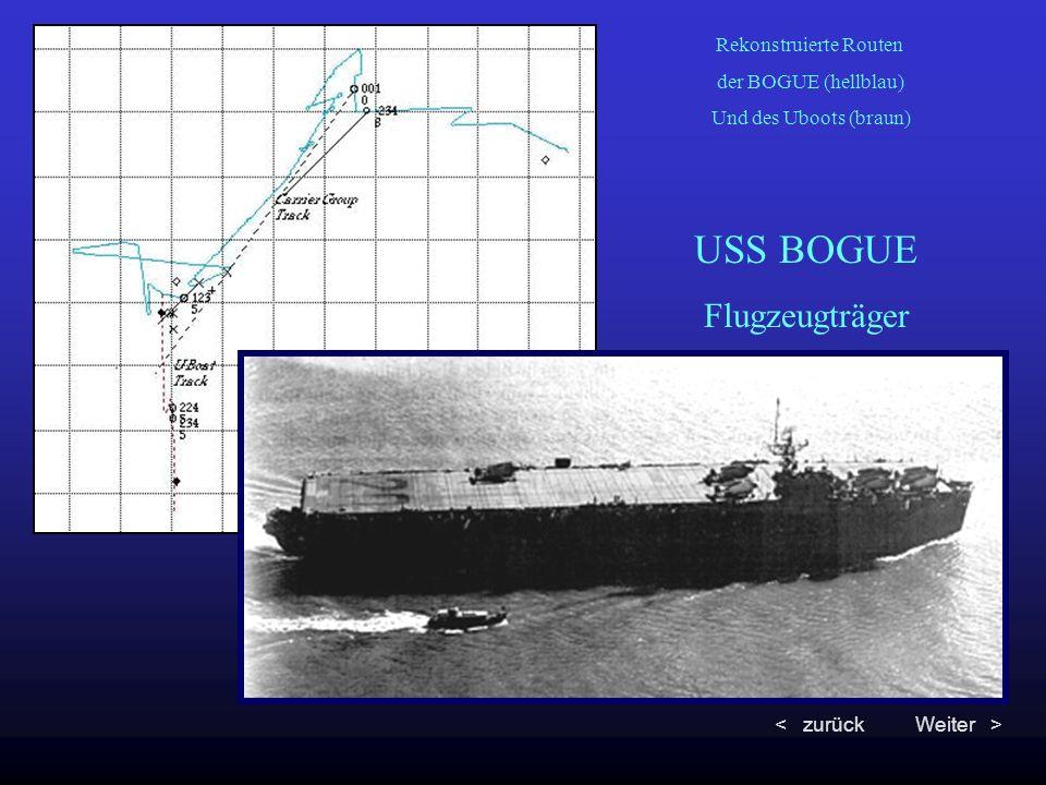 Rekonstruierte Routen der BOGUE (hellblau) Und des Uboots (braun) USS BOGUE Flugzeugträger < zurückWeiter >