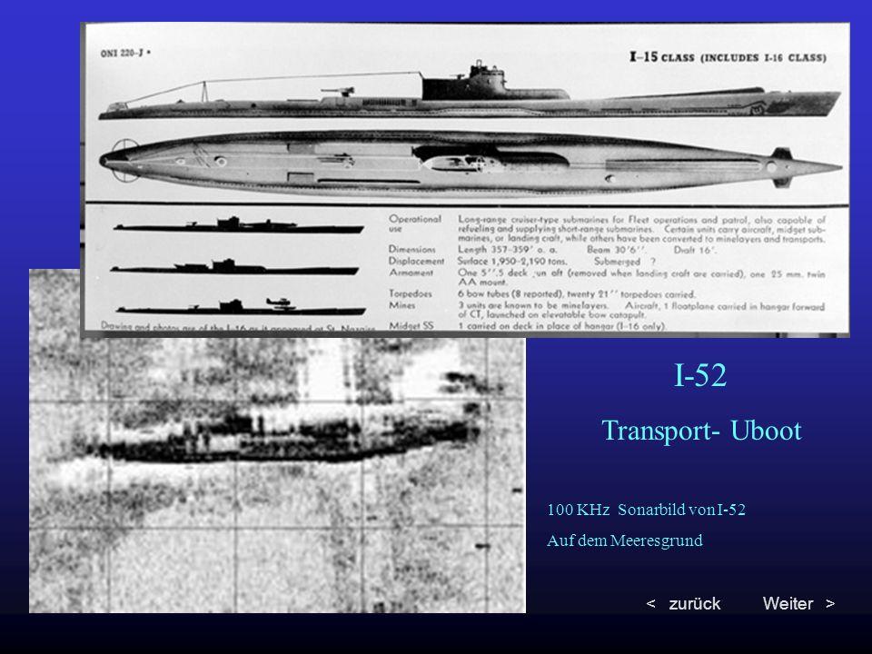 100 KHz Sonarbild von I-52 Auf dem Meeresgrund I-52 Transport- Uboot < zurückWeiter >