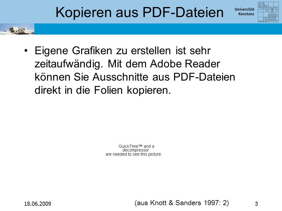 18.06.20093 Kopieren aus PDF-Dateien Eigene Grafiken zu erstellen ist sehr zeitaufwändig. Mit dem Adobe Reader können Sie Ausschnitte aus PDF-Dateien