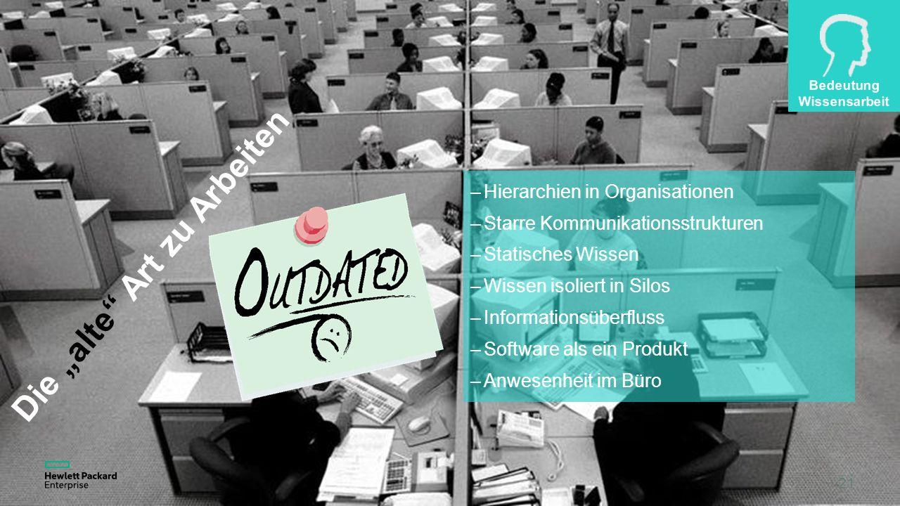 """21 Die """"alte Art zu Arbeiten –Hierarchien in Organisationen –Starre Kommunikationsstrukturen –Statisches Wissen –Wissen isoliert in Silos –Informationsüberfluss –Software als ein Produkt –Anwesenheit im Büro"""